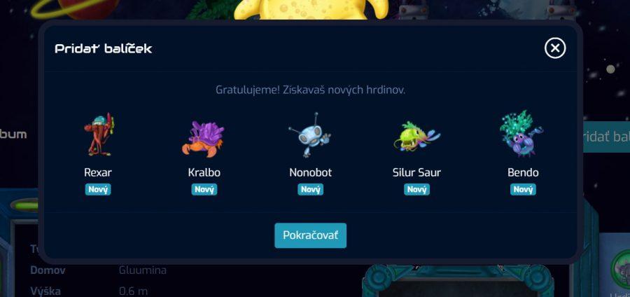 GalaxyCodr - pridanie kartičky do hry a získanie nových hrdinov