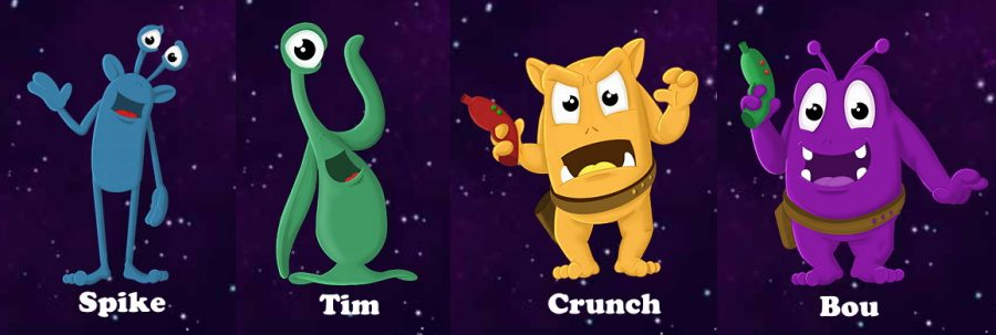 Postavičky z hry GalaxyCodr - Spike, Tim, Crunch, Bou
